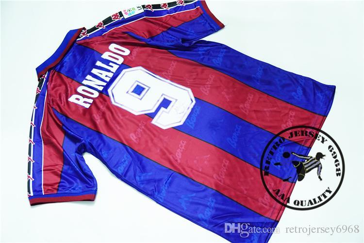 Бесплатная доставка 95-97 главная фигу Роналду giuly Гвардиола Джованни стойчков старая ла лига Футбол Джерси футбол camisetas