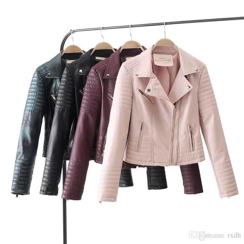 latest collection how to get new list 2019 Women Black Faux Leather Jacket Motorcycle Juniors Fashion Ladies  Slimming Pink PU Moto Biker Tops Burgundy Coat Wholesale From Rxdh, &Price;  | ...