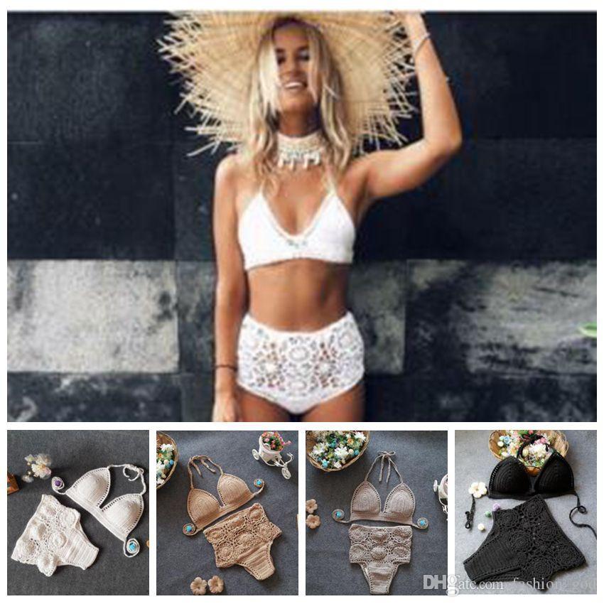 Bikini Crochet Handgewebte Bademode Frauen Gestrickte Sexy Badeanzug Sommer Hohe Taille Bikini Badeanzüge Tankini Beachwear BHs Höschen B4085