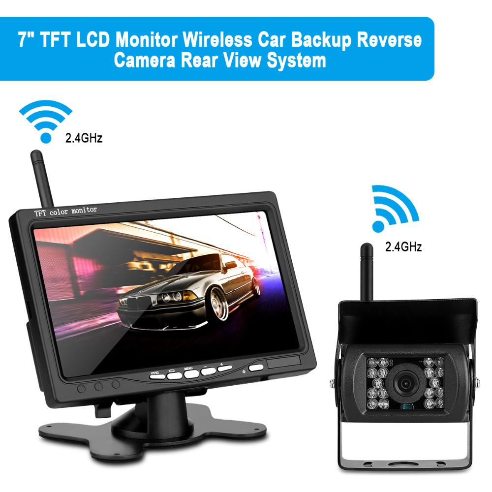 """7"""" TFT LCD Wide Screen Car Rear View System Backup Color HD Monitor + Built-in 2.4GHz Wireless Night Vision Reversing Camera Kit"""