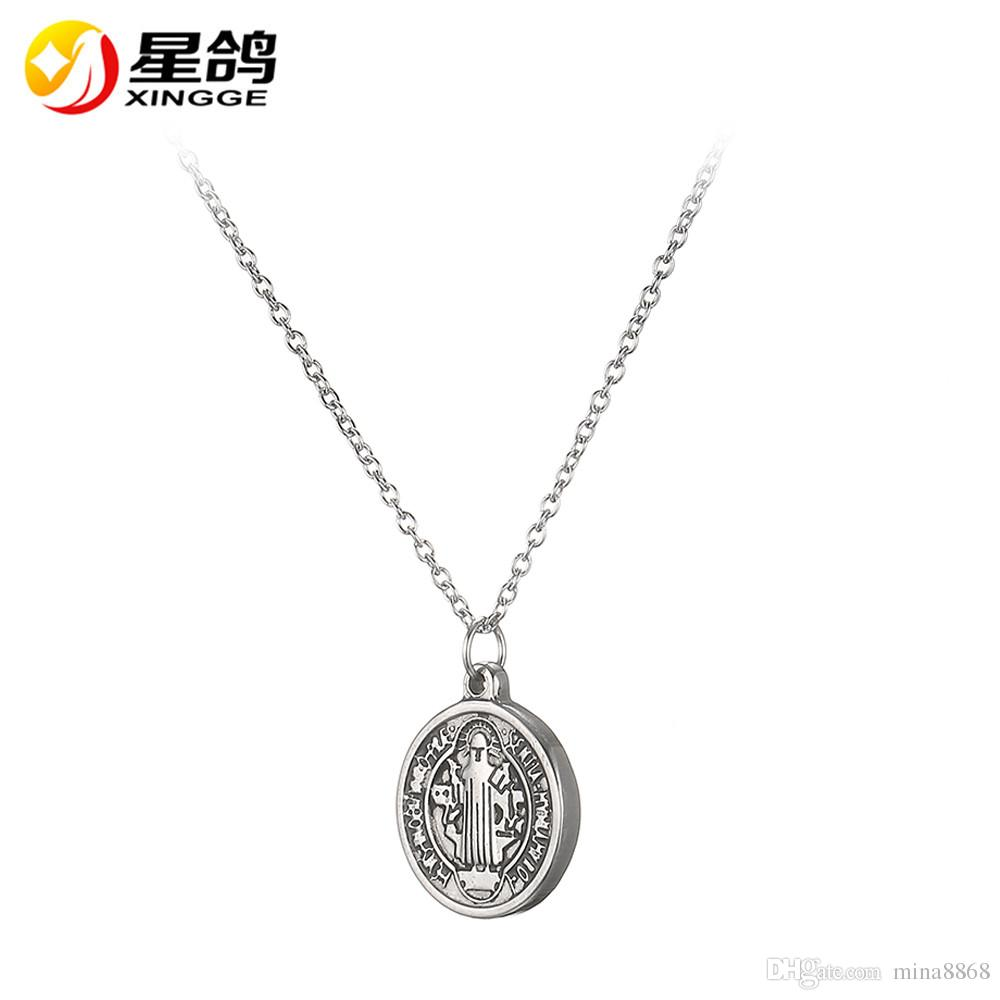 Trendy Christian Jewelry Women Men Necklace Simple design Round Jesus Pendants Stainless Steel Necklace drop shipping wholesale