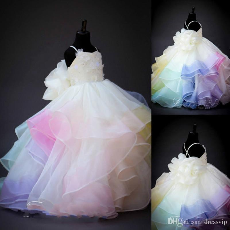 2020 Cute Rainbow Flower Girl Dresses Lace 3D Floral Applique Beaded Tiered First Communion Dress Spaghetti Prom Gowns Party Evening Wear