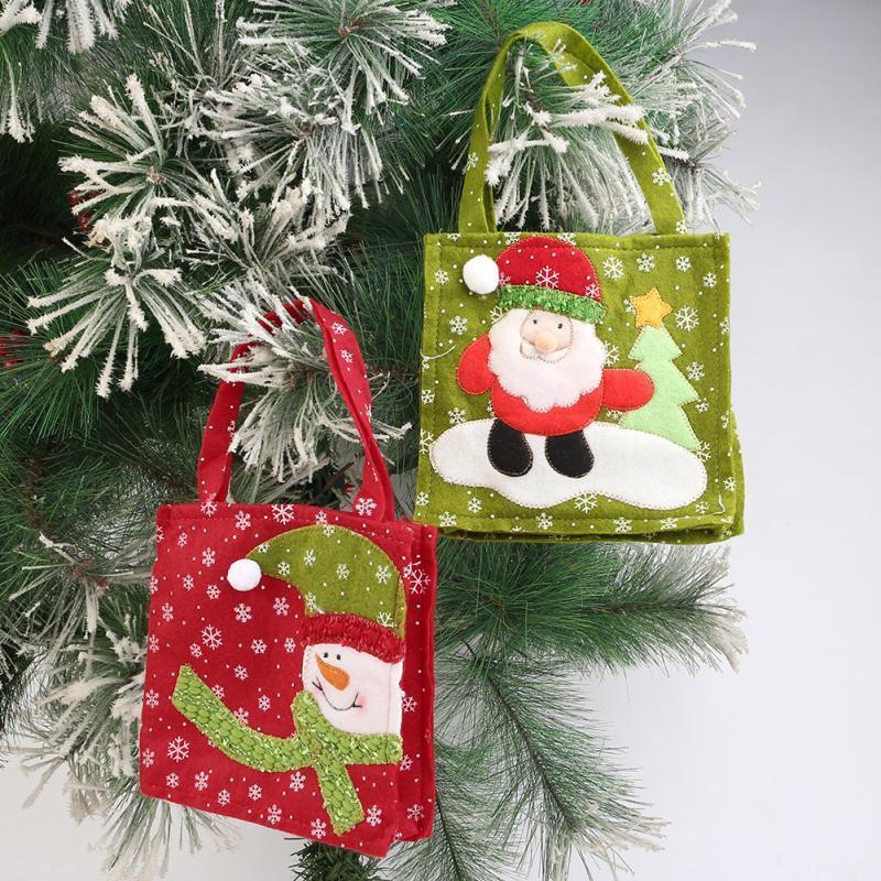 1 pc Natal Verde Papai Noel Do Boneco De Neve Vermelho Decorativo Saco de Presente Sacos De Doces para Doces Stocking Filler Decoração Da Árvore de Natal