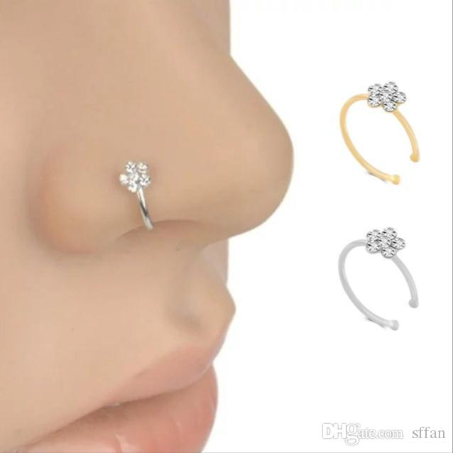 Маленький Tthin 5 чистые кристаллы горный хрусталь сливы цветение цветок носовые кольца шарм серебряный обруч ювелирные изделия фальшивая пирсинг
