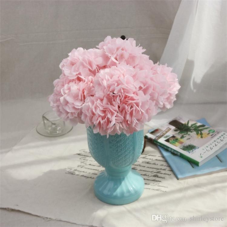 2019 Factory Wholesale Artificial Silk Hydrangea Flower Bouquet Simulation Flowers Wedding Home Furnishing Decoration Free Shipping