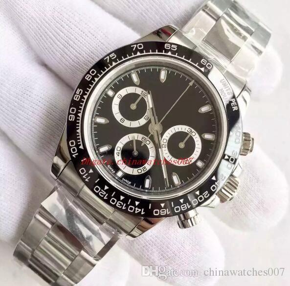 Venda quente Relógio De Luxo Dos Homens 116500 40 MM Clássico Anel De Cerâmica Sem Cronógrafo Movimento Automático Pulseira De Aço Inoxidável 316L