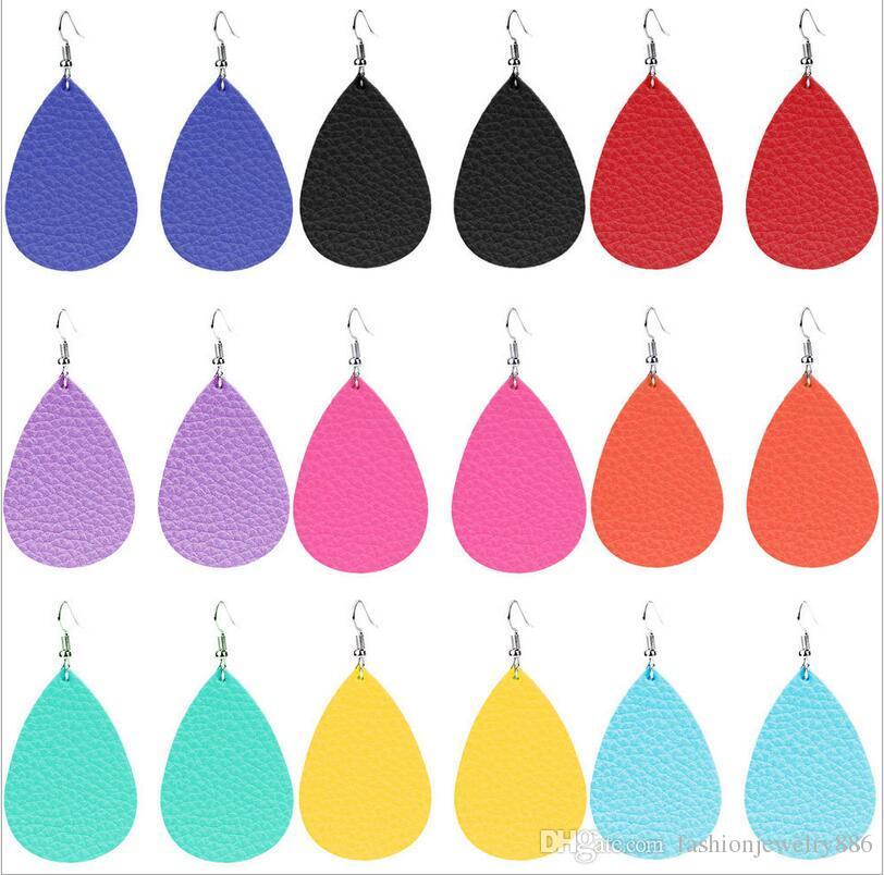 Orecchini pendenti in pelle moda goccia d'acqua ciondola gli orecchini per le donne signora gioielli regalo