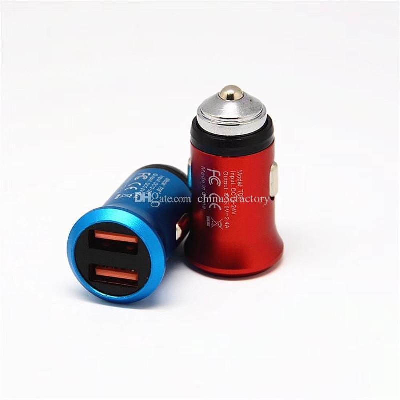 Безопасность Молоток Mini USB Автомобильное зарядное устройство 5V-2.1A двойной USB алюминиевый сплав Универсальное зарядное устройство для iPhone 7 6S Samsung S8 S7
