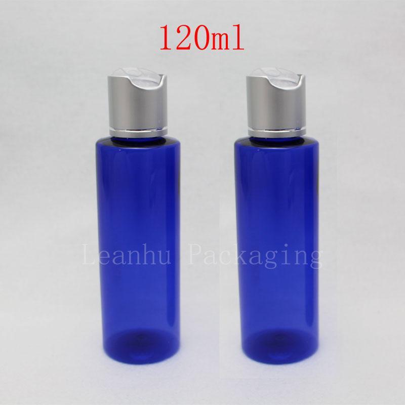جولة 120ML فارغة زجاجات بلاستيكية زرقاء غسول كريم قبعات الألومنيوم، 120cc مستحضرات التجميل DIY زجاجات التعبئة والتغليف ماكياج حاوية 4oz سعرنا