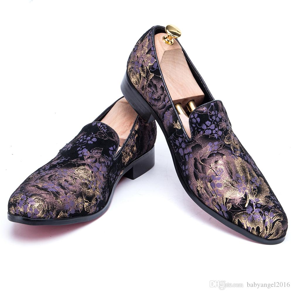 Britischen Stil Blumen Druck Männer Loafers Fashion Party Prom Männer Kleid Schuhe Slip auf Rauchen Hausschuhe Große Größe