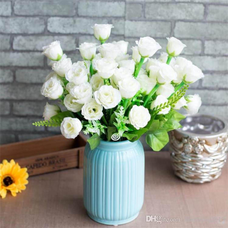 Fake Rose Bunch (14 heads/piece) Simulation Roses with Plastic Aqua-Plant for Wedding Home Showcase Decorative Artificial Flowers