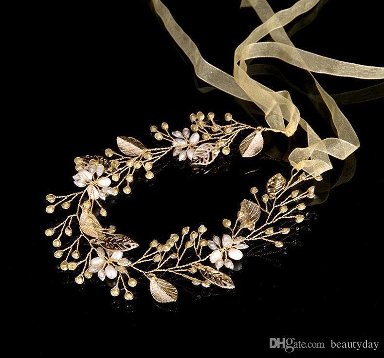 Nupcial do casamento da dama de honra folha de ouro Handmade Rhinestone Pérola Hairband Headband Luxo Acessórios de cabelo Headpiece Fascinators Headband