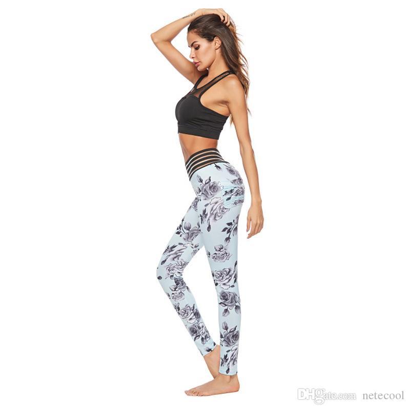 Sexy Lace Splicing Waist Leggings Women Print Pocket Hotsale Clothes Push Up Fitness Female Elastic Slim Pants Leggings Slim Yoga Pants