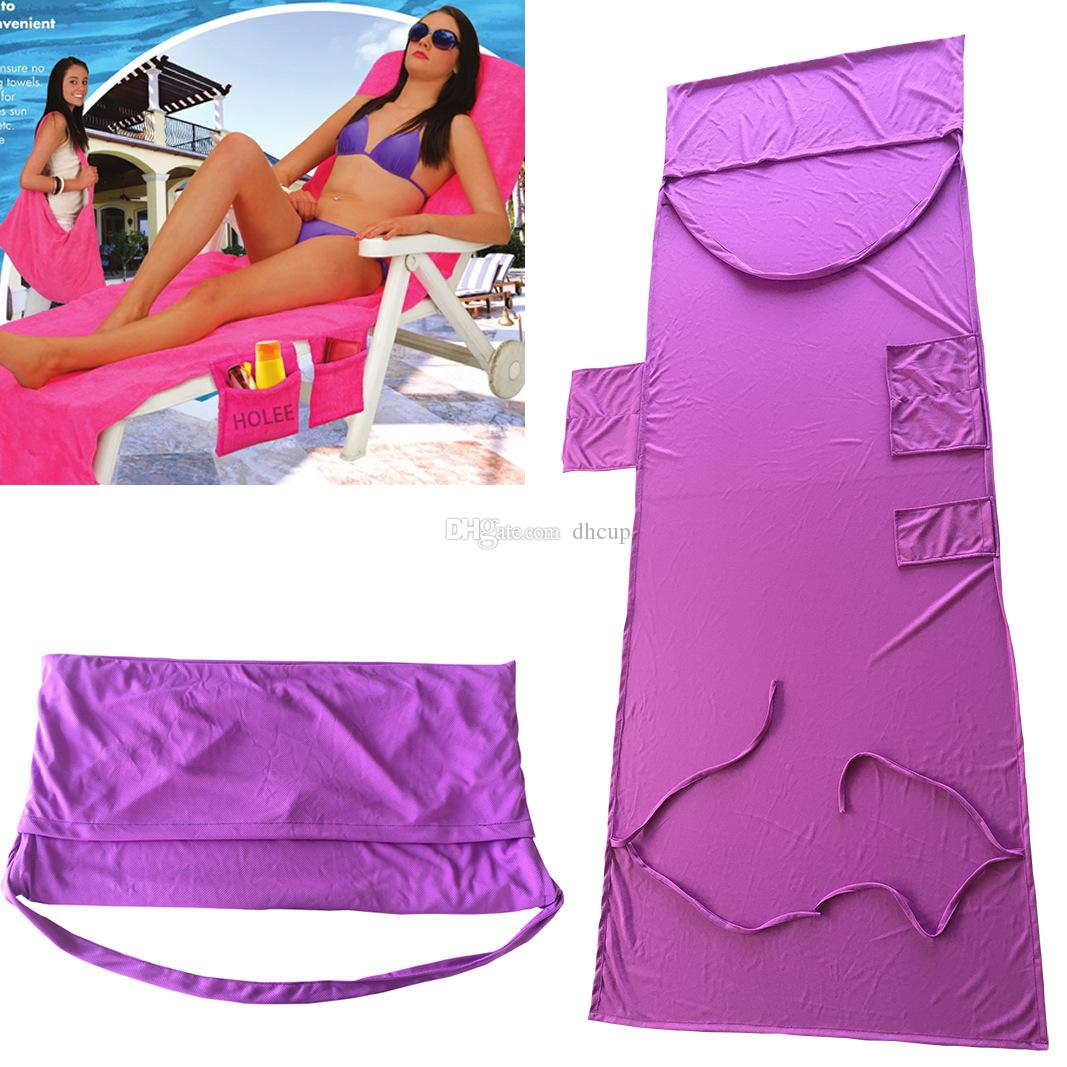 A++ Quality 215*75 CM 5 Colors Beach Chair Cover Lounge Bed Beach Blankets Portable With Straps & Beach Towels Double Layer Thick Blanket