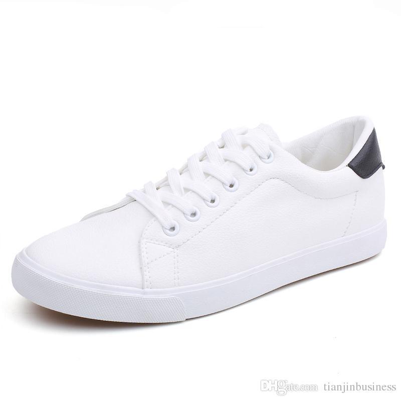 Zapatos para hombre Primavera otoño Cuero de PU Estilo con cordones Zapatillas de deporte de moda transpirables ligeras Zapatos vulcanizados