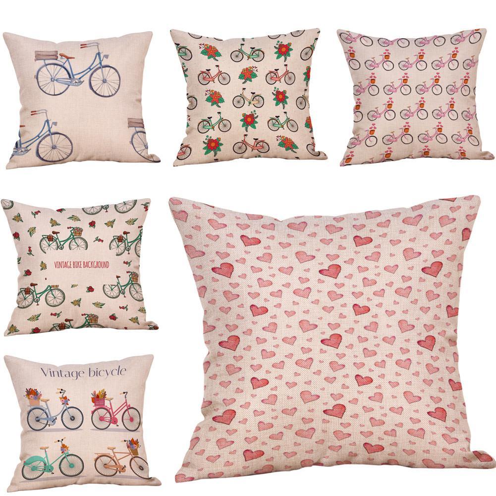 Cotton Linen Bicycle Flower Pillowcase Sofa Waist Pillow Cover Home Decor Cotton Linen  New 45cm*45cm Fashion 10JUL 16 Pillow Case