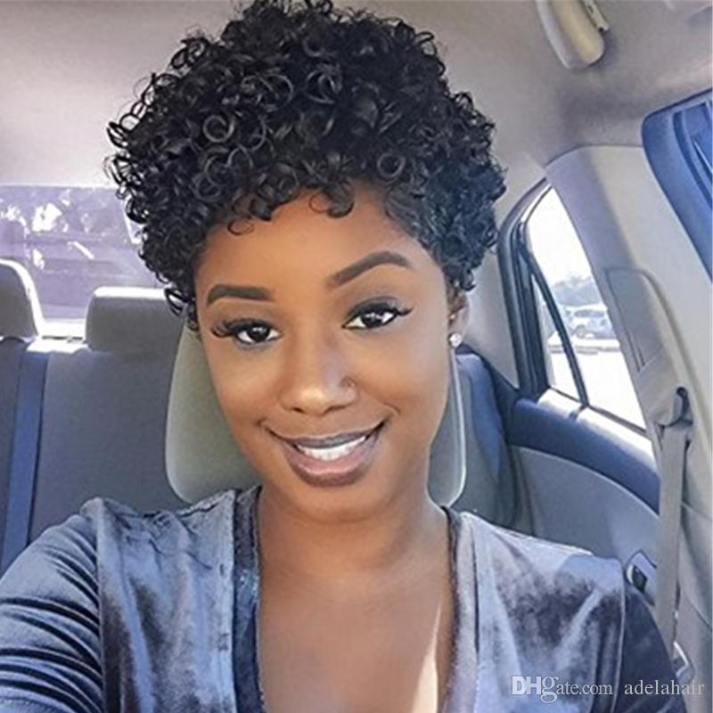 Kısa Afro Kıvırmak Peruk Perulu Vücut Dalga Siyah Bob Peruk Doğal Saç Çizgisi Tutkalsız Tam İnsan Saç Kapaksız Peruk