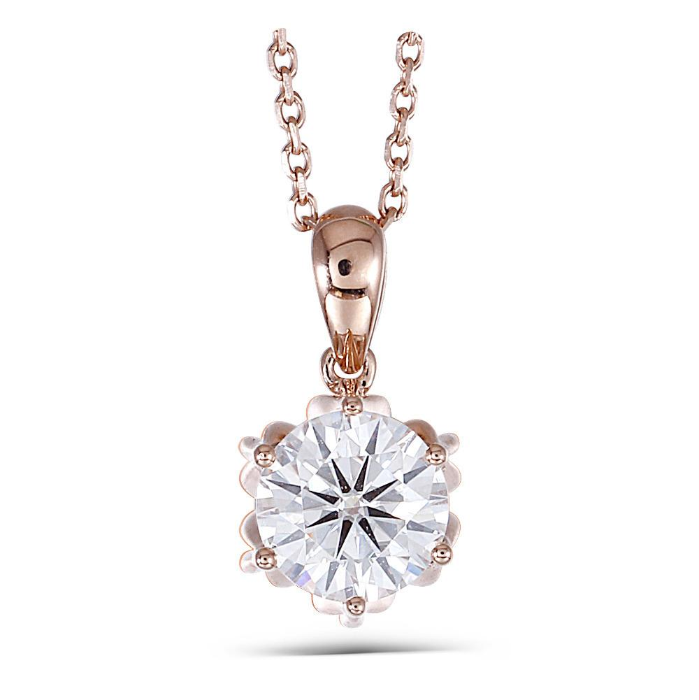 """Transgems 18K Rose Gold 1CTW 6.5mm F Color Moissanite Solitaire Pendant Necklace with 18"""" 18K Rose Gold ChainX82301"""