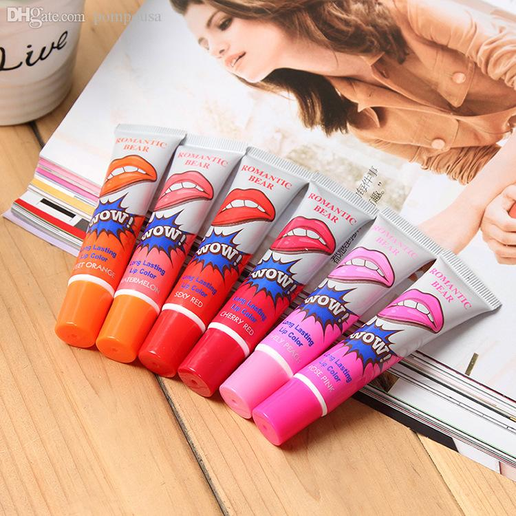 Wholesale 12pcs tear lip gloss girls tear pull off lipstick moisturizing fruit fragrance lip film mask for free shipping