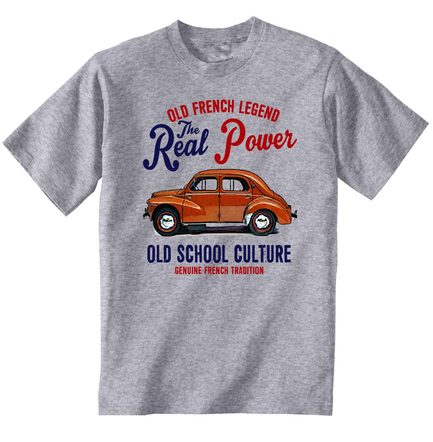 VINTAGE FRENCH CAR RENAULT 4CV - NEW COTTON T-SHIRTStyle Round Style tshirt