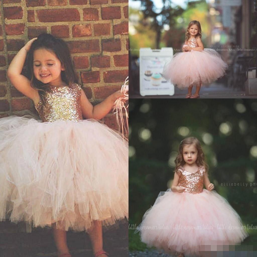 Blush Rosa Tutu Criança Infantil Flor Meninas Vestidos 2019 Sparkly Rose Gold Lantejoulas Little Princess Primeira Comunhão Wedding Party Dress