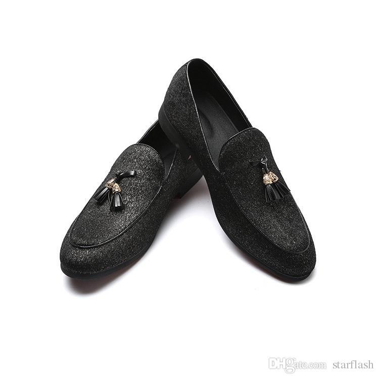 Scarpe di lusso fatte a mano da uomo di colore rosso fondo in gomma mocassini in pelle da uomo mensili da uomo d'affari scarpe casual Plus Size: 39-45 Q-459