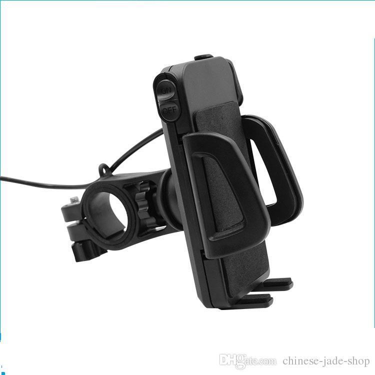 2 en 1 titular de montaje de teléfono IP65 a prueba de agua de la motocicleta a prueba de agua con 5V 2.4A cargador de USB interruptor de alimentación 4.5FT cable de alimentación UCH-01 30PCS / LOTE EN VENTA AL POR MENOR