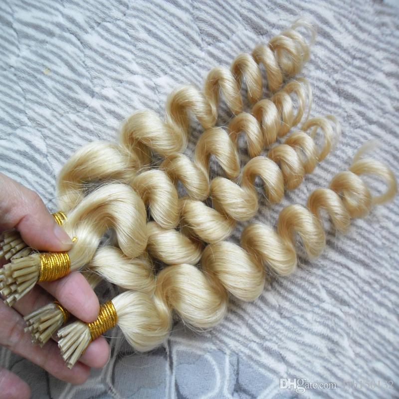 100 % 실제 인간의 머리 금발 U 팁 인간의 머리 확장 200 그램 각질 확장 느슨한 웨이브 브라질 퓨전 머리 확장 인간의