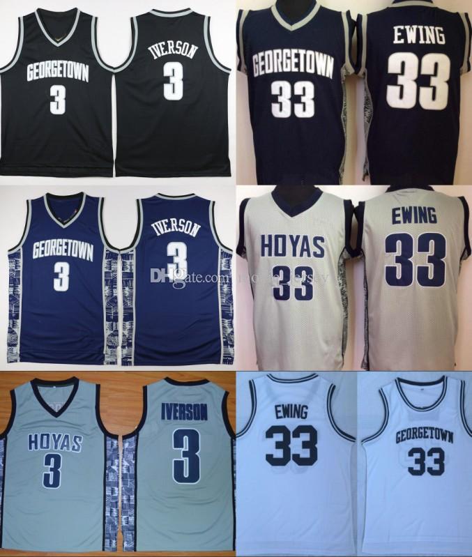 جامعة جورج تاون Hoyas الفانيلة الرجال بيع كرة السلة الن ايفرسون 3 جيرسي باتريك يوينغ 33 الموحدة كلية الرياضة تنفس أعلى جودة