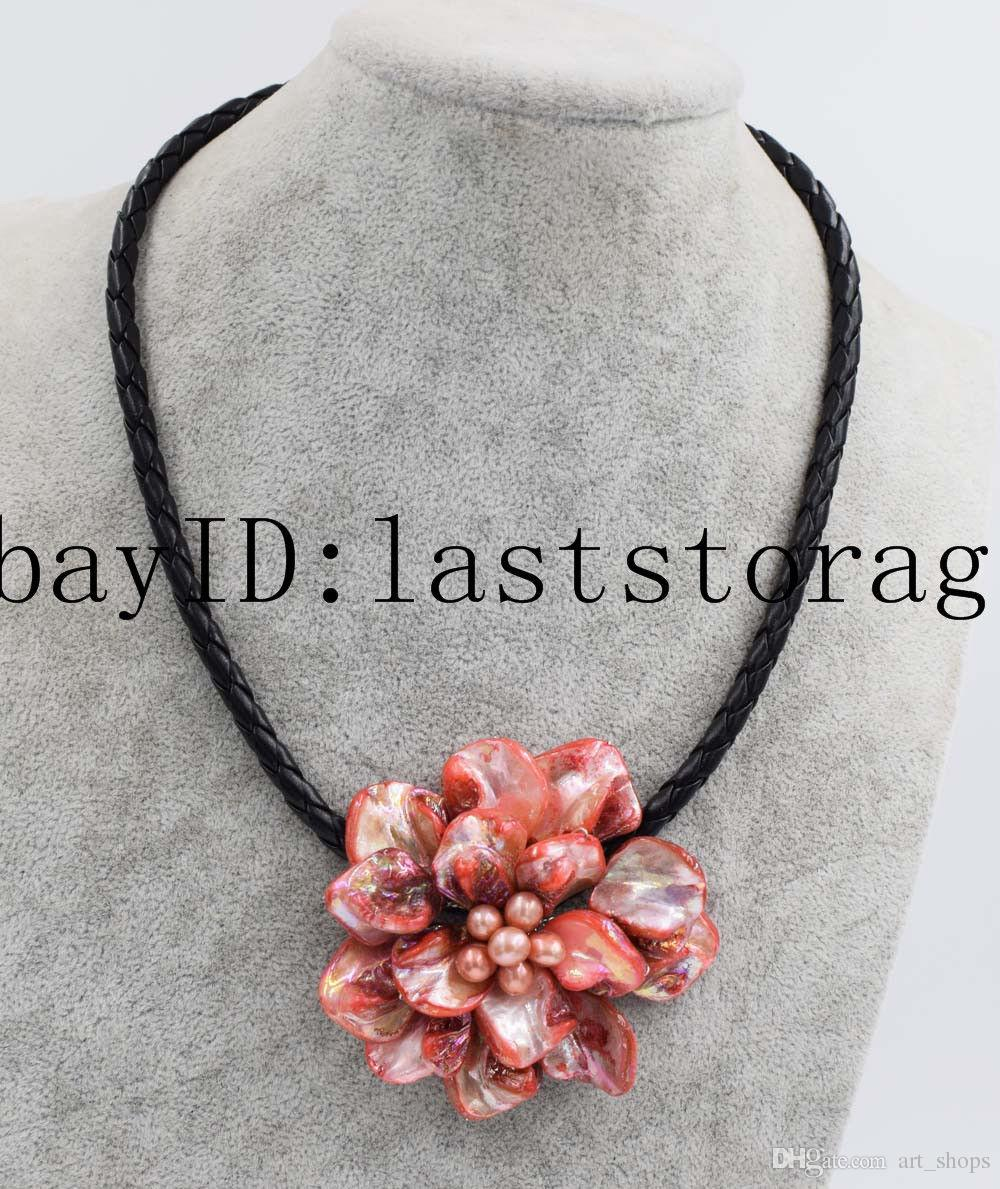 """pink red freshwater pearl &shell flower flower necklace 40mm18"""" wholesale beads"""
