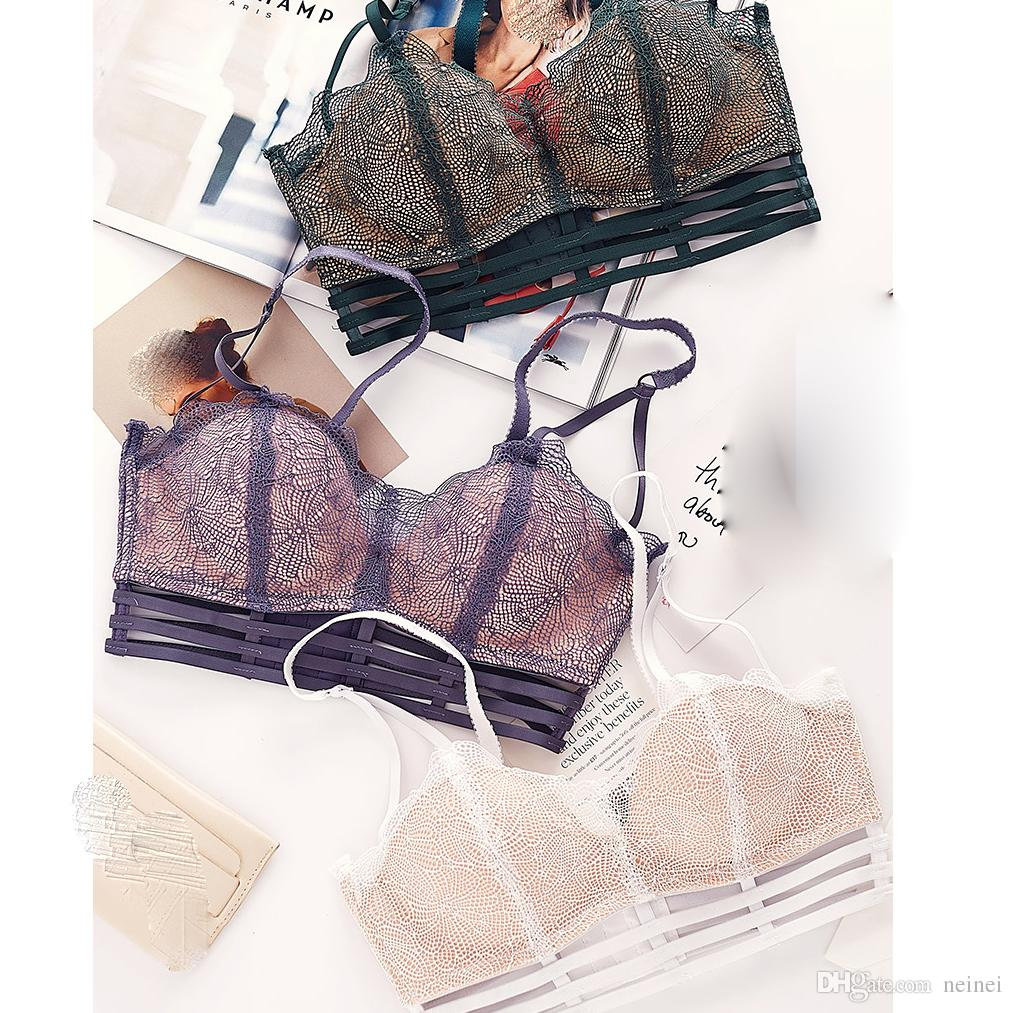 Lace intimates seamless push up young girls lingerie sexy one-piece bra and panty set hollow out women underwear sets 4 colors