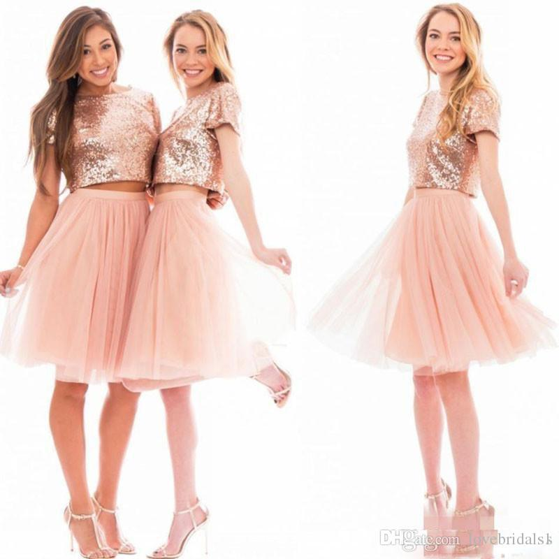 Two Pieces Sparkly Rose Gold Sequins Bridesmaid Dresses for Junior Beach Cheap Short Sleeve Plus Size Prom Party Dresses