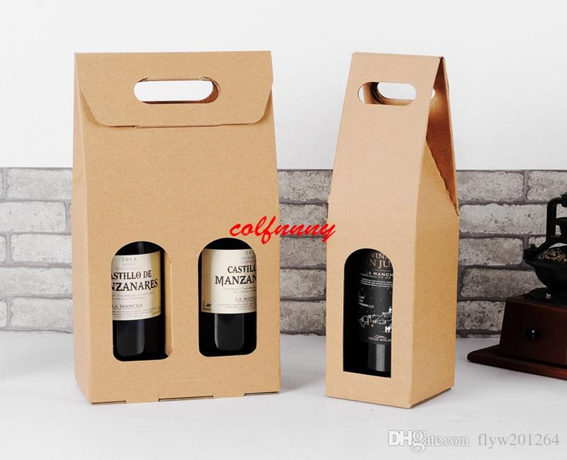 50pcs/lot Fast Shipping Kraft Paper Wine Bags Hot-stamping logo Package Oliver Oil Champagne Bottle Carrier Gift Holder F062505