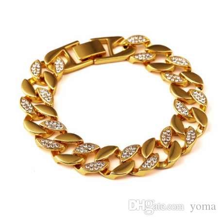 Bracelets de haute qualité glacé sur Hip Hop Bracelet Hommes Miami Cuban Bracelet de luxe Hommes simulé Bling Strass Bracelets de mode