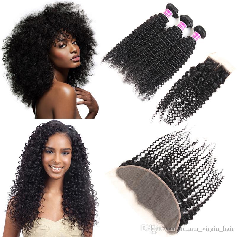 8A capelli vergini brasiliani ricci crespi 3 Bundles con chiusura in pizzo Frontali capelli intrecciati malesi peruviani estensioni vendita calda