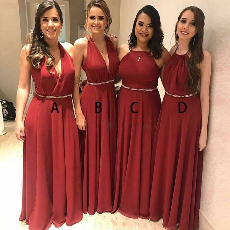 Compre Verano Rojo 4 Estilo Barato País Vestidos De Dama De Honor Con Cuello En V Longitud Del Piso Vestido De Fiesta Vestidos De Boda En La Playa