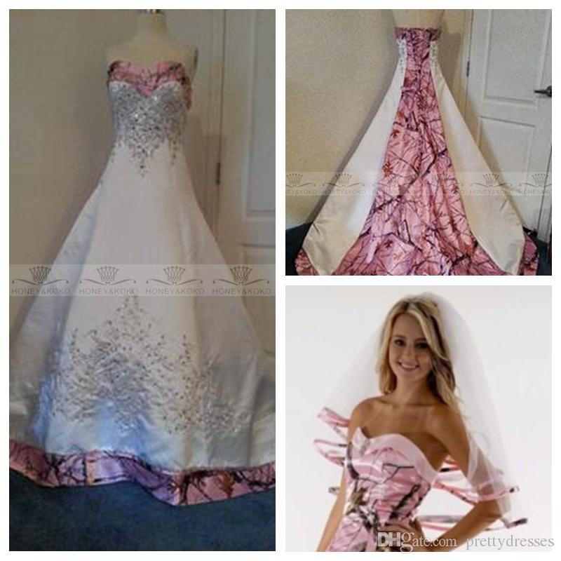 Discount Beautiful Pink Camo Wedding Dresses With Embroidery Beading Bridal  Gowns Custom Camouflage Real Tree Plus Size Vestidos Long Country 2018 ...