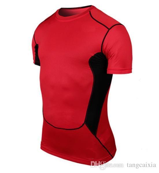 Оптовая продажа бесплатная доставка мужчины Дизайнерская Футболка Повседневная Quick Dry Slim Fit Рубашки Топы Тис Размер 6 цветов размер S-2xl