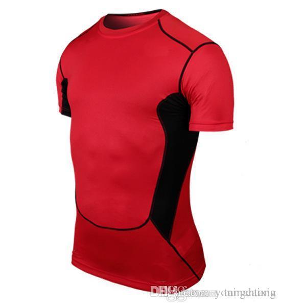 Toptan ücretsiz kargo erkekler Tasarımcı T Gömlek Casual Hızlı Kuru Slim Fit Gömlek Tops Tees Boyutu 6 renkler boyut S-2xl