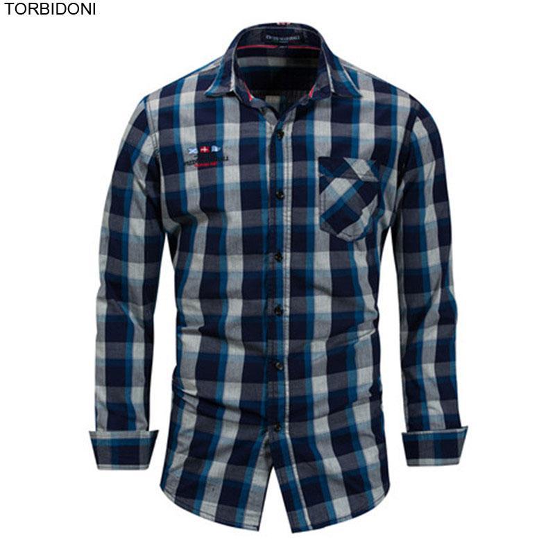 Camicia scozzese Camicia elegante da uomo EUR Taglia Camicie di cotone a maniche lunghe Camisas Para Hombre Camicie da uomo d'affari di marca XXXL