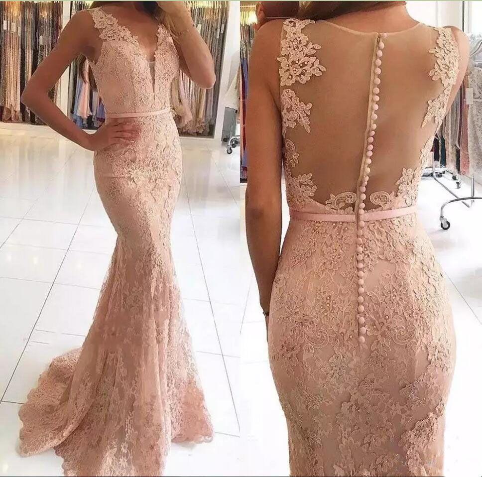 Beaded geappliceerd blozen roze kant zeemeermin prom jurken 2019 v-hals mantel formele avondjurken sexy illusie terug goedkope zoete 16 feestjurk