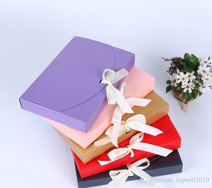 100 pz 26x17.5x3.5cm Grande scatola regalo Bottiglia cosmetica Sciarpa Abbigliamento confezionamento Colore scatola di carta con scatola di imballaggio biancheria intima del nastro SN743