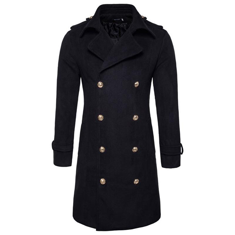 Мужские траншеи 2021 осеннее металлическое двубортное шерстяное пальто с твердым цветным