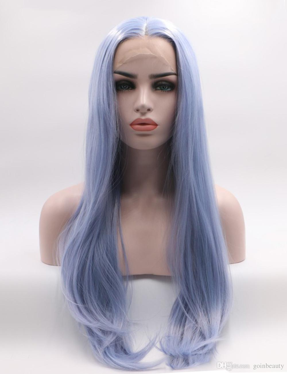 Fantasy Beauty Pastel Blue Heat Resistant Fiber Hair Long Natural Straight Synthetic Lace Front Wigs