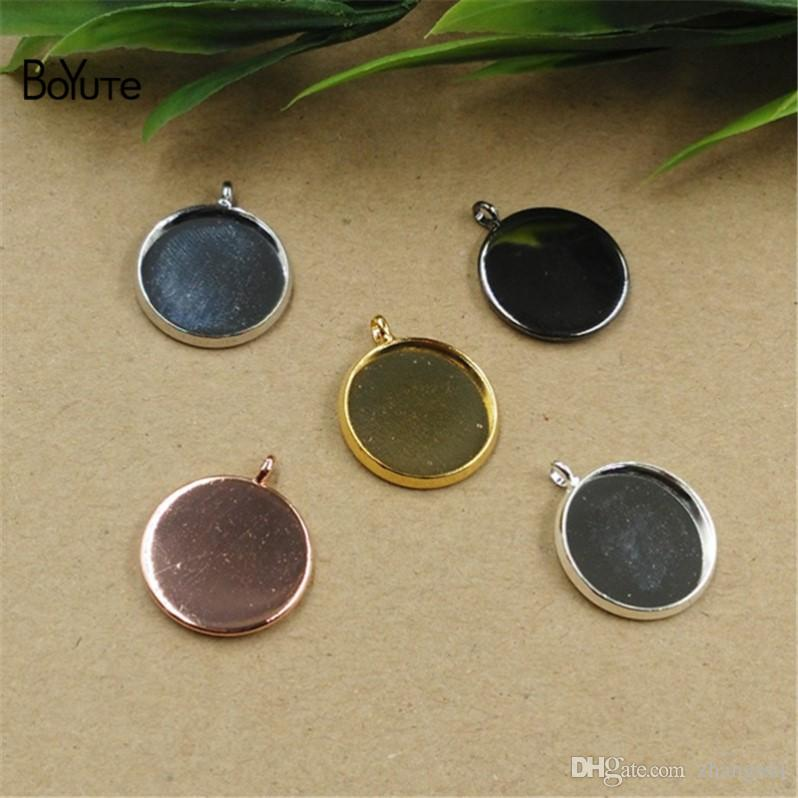 BoYuTe 50Pcs White K Plated Pendant Blank Tray 10MM 12MM 14MM 16MM 18MM 20MM 25MM Cameo Cabochon Base Setting for Jewelry Making