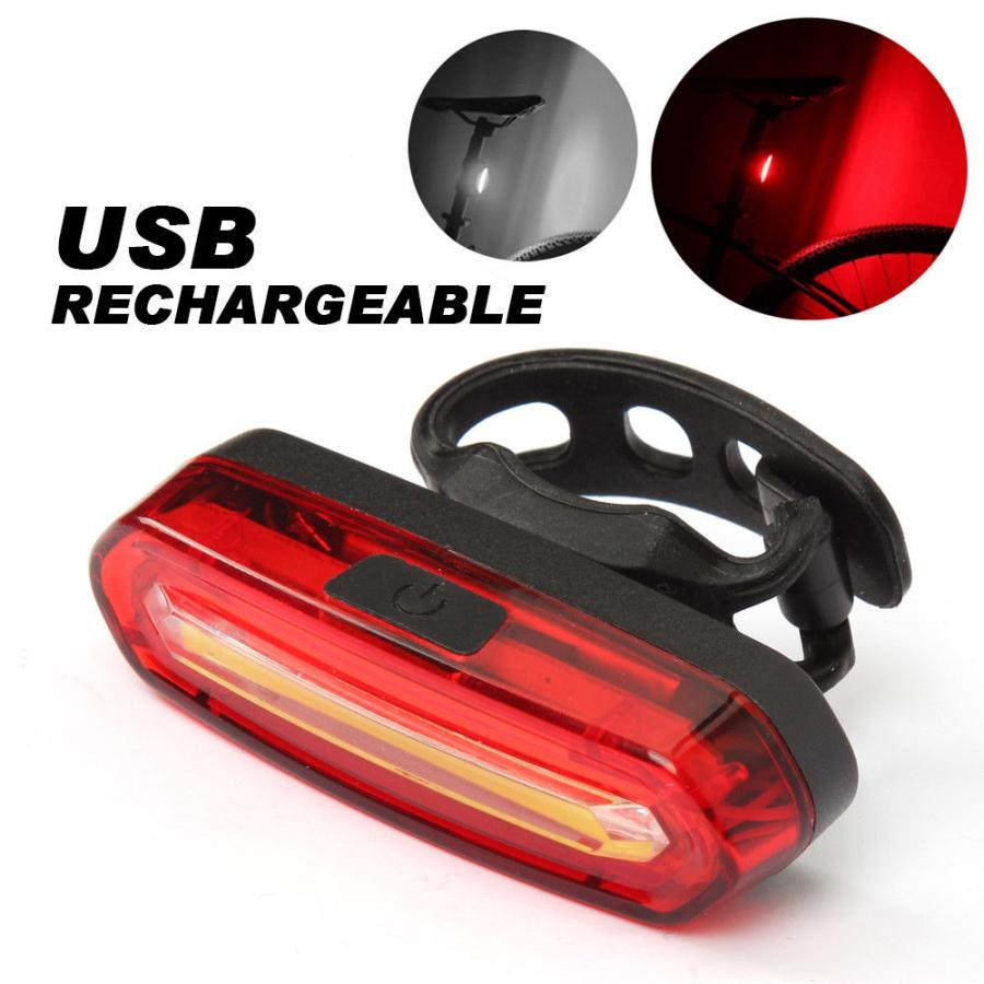 6 Modes White COB LED Bicycle Bike Front Rear Light USB Rechargeable Battery UK