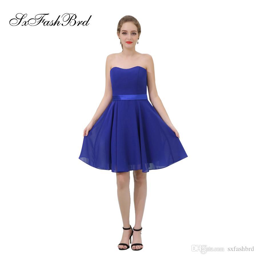 Elegant Girls Dress Sweetheart A Line Chiffon Mini Short Blue Party Formal Evening Dresses for Women Prom Dress Gowns