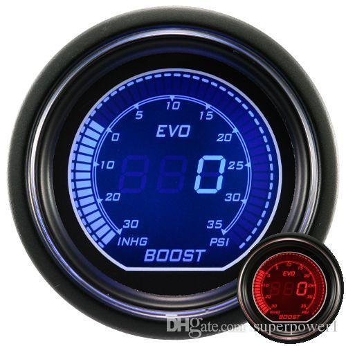 """NEUE 2 """"(52mm) EVO LCD Digital Boost Gauge 30 In, Hg ~ 0 ~ 30 Psi Reaing / Auto Gauge / Auto Meter / Drehzahlmesser / Auto Meter / Farbe: Rot und Blau"""
