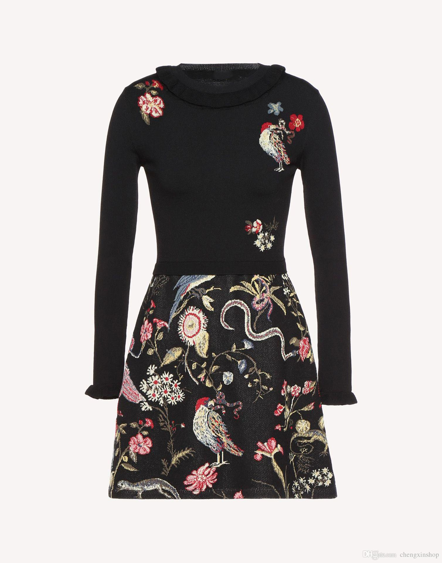 af4faf7578c27 2018 Italy Floral Print Long Sleeves Stretch Knit Round Collar Lady  Embroidery Mini Dresses Women Dress