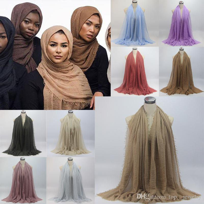 Hot Women Maxi Hijabs Shawls Oversize Islamic Head Wraps Soft Long Muslim Frayed Crepe Premium Cotton and Linen Plain Hijab Scarf 20 pcs